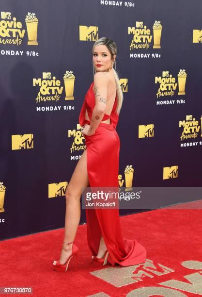 Singer Halseyl attends the 2018 MTV Movie And TV Awards at Barker Hangar on June 16 2018 in Santa Monica California