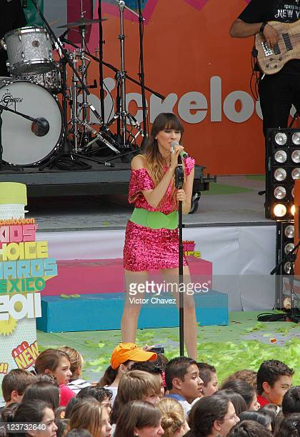 Singer Hanna Nicole Perez Mosa of HaAsh performs during the 2011 Kids Choice Awards Mexico at Six Flags Mexico on September 3 2011 in Mexico City...