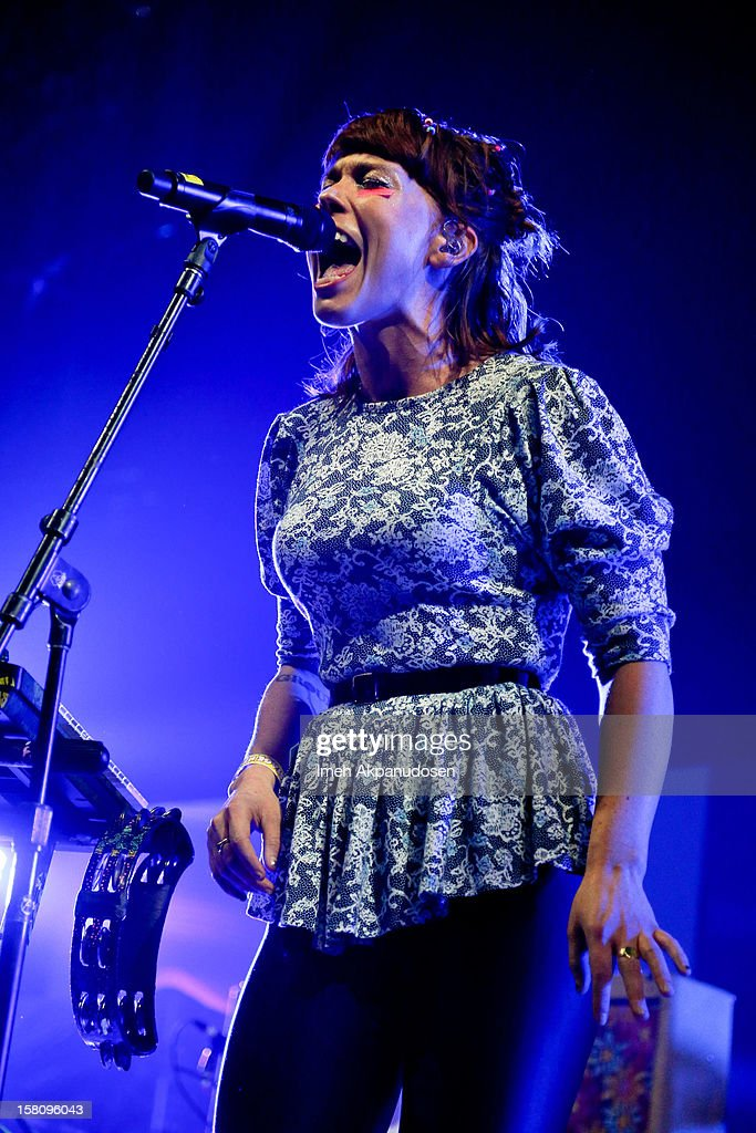 Singer Hannah Hooper of Grouplove performs onstage at the 23rd Annual KROQ Almost Acoustic Christmas at Gibson Amphitheatre on December 9, 2012 in Universal City, California.