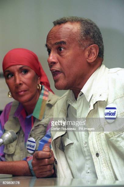Singer Harry Belafonte a UNICEF Goodwill Ambassador speaks at a news conference after arriving at Heathrow from his humanitarian mission to Rwanda...