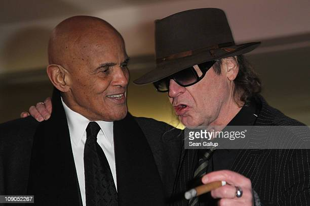 S singer Harry Belafonte and German singer Udo Lindenberg attend the 'Sing Your Song' Premiere during day four of the 61st Berlin International Film...
