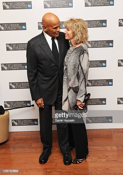 Singer Harry Belafonte and his wife Julie Robinson attends the Premiere of The Future at the 55th BFI London Film Festival at Vue West End on October...