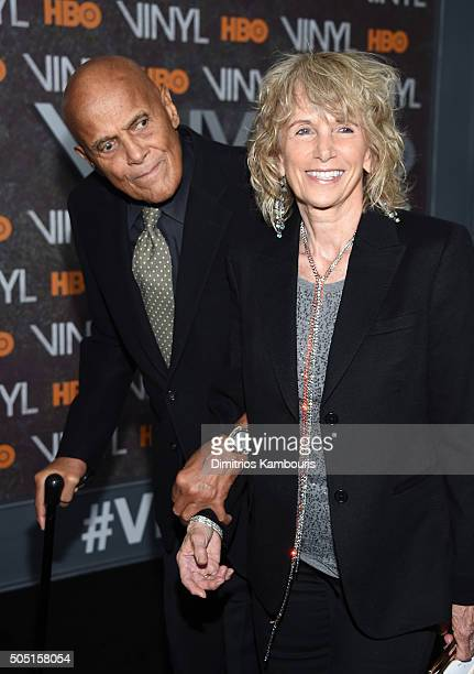 Singer Harry Belafonte and Pamela Frank attend the New York premiere of Vinyl at Ziegfeld Theatre on January 15 2016 in New York City