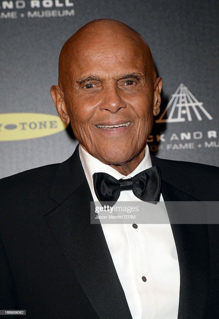 Singer Harry Belafonte poses in the press room at the 28th Annual Rock and Roll Hall of Fame Induction Ceremony at Nokia Theatre L.A. Live on April 18, 2013 in Los Angeles, California.