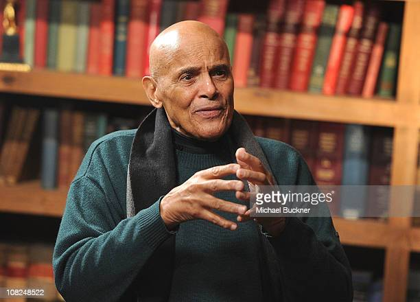 "Singer Harry Belafonte speaks during a press junket at The Bing Decision Maker Series with the ""Sing Your Song"" Cast and Filmmakers on January 22,..."