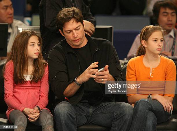 Singer Harry Connick Jr with daughters during NBA AllStar Saturday Night part of 2008 NBA AllStar Weekend at the New Orleans Arena on February 16...