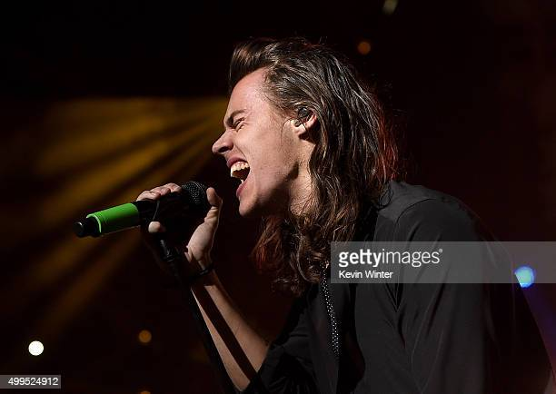 Singer Harry Styles of musical group One Direction performs onstage during 1061 KISS FM's Jingle Ball 2015 presented by Capital One at American...
