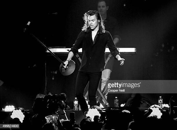 Singer Harry Styles of One Direction performs onstage during 106.1 KISS FM's Jingle Ball 2015 presented by Capital One at American Airlines Center on...