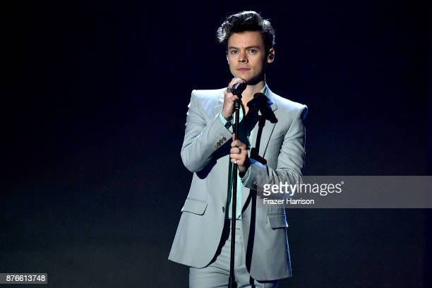 Singer Harry Styles performs on the runway during the 2017 Victoria's Secret Fashion Show In Shanghai at Mercedes-Benz Arena on November 20, 2017 in...