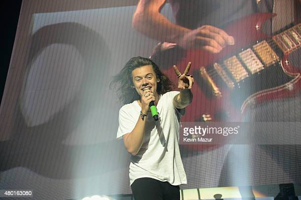 Singer Harry Styles performs onstage during One Direction's On the Road Again tour opener at Qualcomm Stadium on July 9 2015 in San Diego California