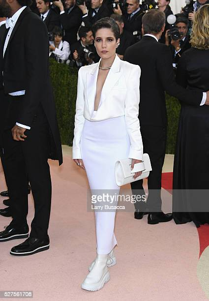 Singer Hasley attends the 'Manus x Machina Fashion In An Age Of Technology' Costume Institute Gala at Metropolitan Museum of Art on May 2 2016 in New...