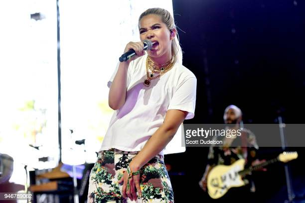 Singer Hayley Kiyoko performs on the Gobi stage during week 1 day 3 of the Coachella Valley Music and Arts Festival on April 15 2018 in Indio...