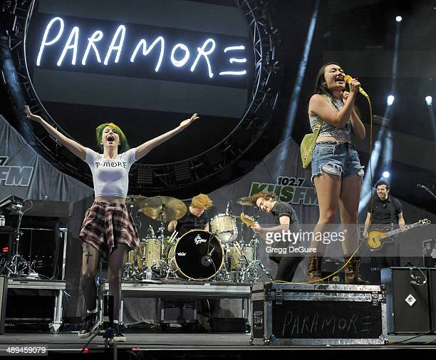 Singer Hayley Williams of Paramore and fan perform at 1027 KIIS FM's 2014 Wango Tango at StubHub Center on May 10 2014 in Los Angeles California
