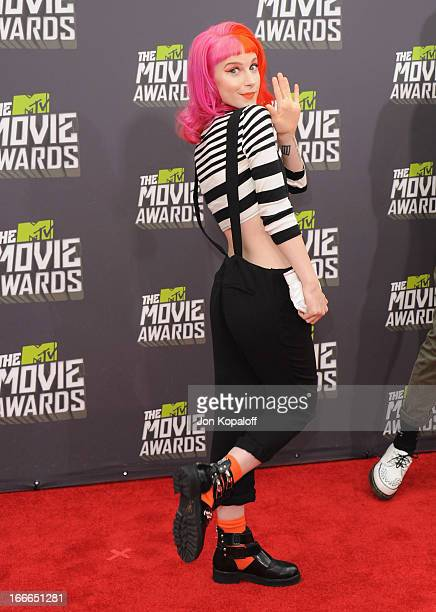 Singer Hayley Williams of Paramore arrives at the 2013 MTV Movie Awards at Sony Pictures Studios on April 14 2013 in Culver City California