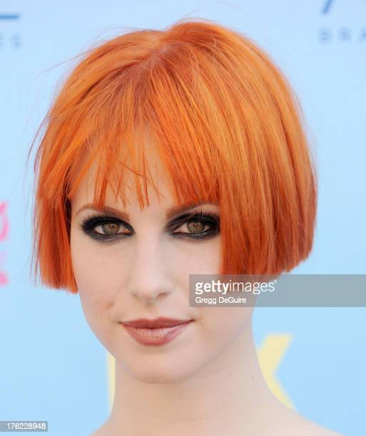 Singer Hayley Williams of Paramore arrives at the 2013 Teen Choice Awards at Gibson Amphitheatre on August 11 2013 in Universal City California