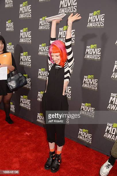 Singer Hayley Williams of Paramore attends the 2013 MTV Movie Awards at Sony Pictures Studios on April 14 2013 in Culver City California