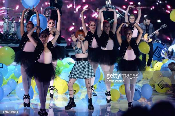 Singer Hayley Williams of Paramore performs onstage during the Teen Choice Awards 2013 at Gibson Amphitheatre on August 11 2013 in Universal City...