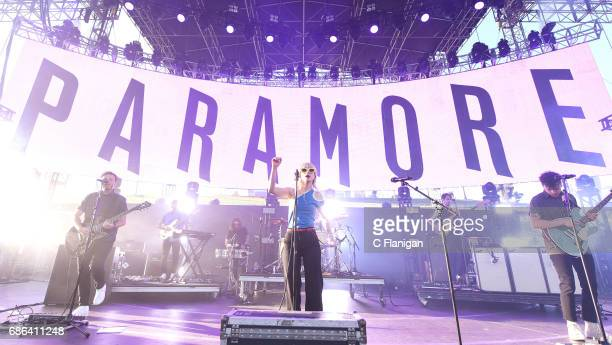 Singer Hayley Williams Zac Farro and Taylor York together as Paramore perform during the 2017 KROQ Weenie Roast Y Fiesta at StubHub Center on May 20...