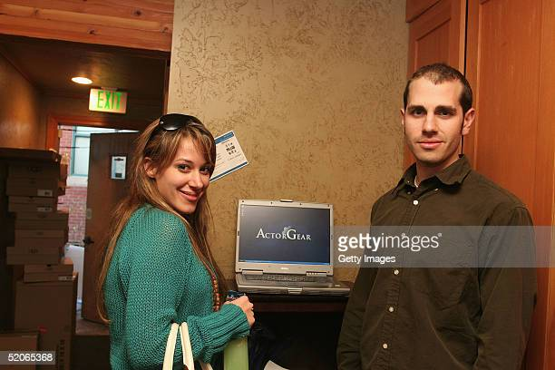 Singer Haylie Duff visits the ActorGearcom display at the Gibson Gift Lounge during the 2005 Sundance Film Festival on January 25 2005 in Park City...