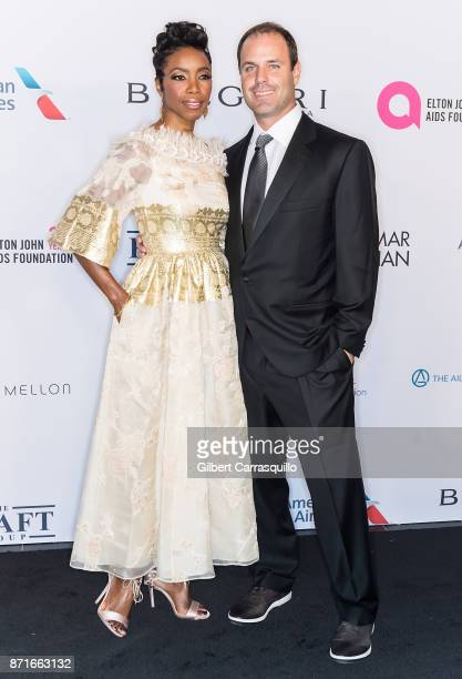 Singer Heather Headley and Brian Musso attend as the Elton John AIDS Foundation commemorates its 25th year and honors founder Sir Elton John during...