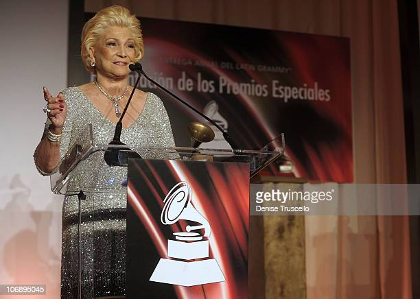 Singer Hebe Camargo accepts award onstage at the 11th Annual Latin GRAMMY Awards Latin Recording Academy Special Awards held at The Four Seasons...