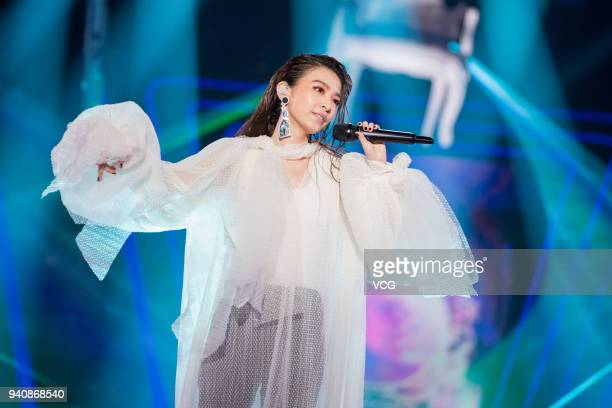 Singer Hebe Tien performs during a launch ceremony of OPPO R15 on March 31 2018 in Shenzhen Guangdong Province of China