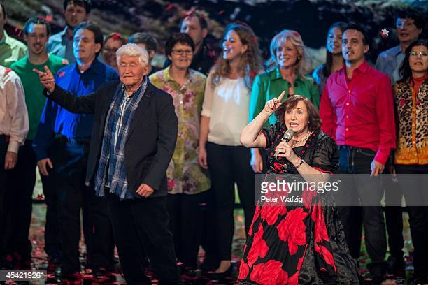 Singer Heidi Schimiczek performs together with Gotthilf Fischer and his choir during the second Semifinal of 'Das Supertalent' TV Show on December 07...