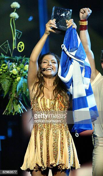 Singer Helena Paparaizou of Greece winner of the 50th Eurovision Song Contest for her song My Number One holds her award in Kiev 22 May 2005...