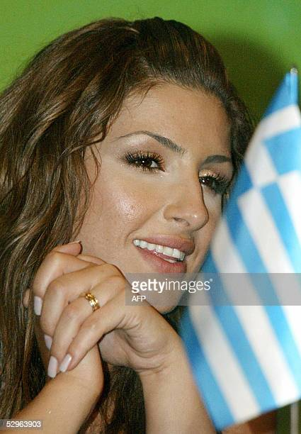 Singer Helena Paparaizou of Greece winner of the 50th Eurovision Song Contest smiles during a press conference in Kiev 22 May 2005 Paparaizou...