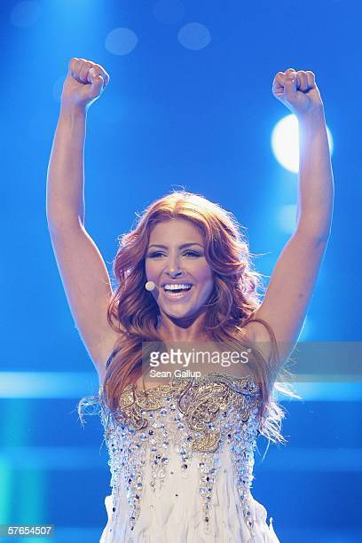 Singer Helena Paparizou of Greece who won the Eurovision Song Contest in 2005 in Kiev performs at the dress rehearsal prior to the finals of the 2006...