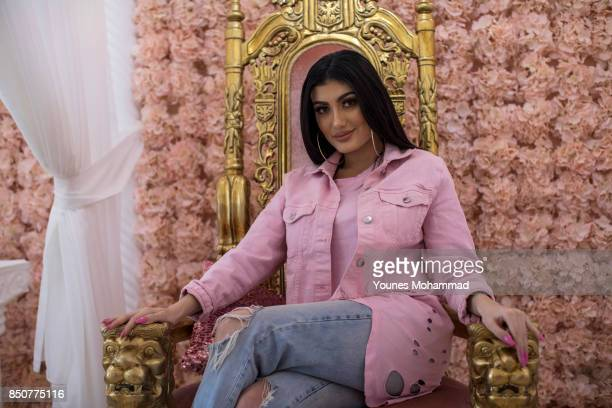 Singer Helly Luv poses at her beauty salon Luvion on September 21 2017 in Erbil Iraq Helly Luv sings a new song to support the Kurdistan Referendum...