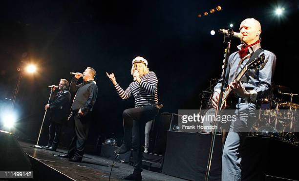 Singer Henri Schmidt Sebastian Krumbiegel Tobias Kuenzel and Wolfgang Lenk of the german band Die Prinzen performs live during a concert at the...