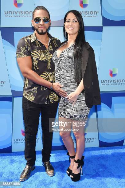 Singer Henry Santos and Giselle Mendez attend the 2017 Univision Upfront at the Lyric Theatre on May 16 2017 in New York City