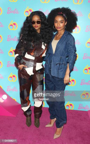 Singer H.E.R. And actress Yara Shahidi attend the Barbie 60th Anniversary Celebration at 505 Broadway on March 08, 2019 in New York City.
