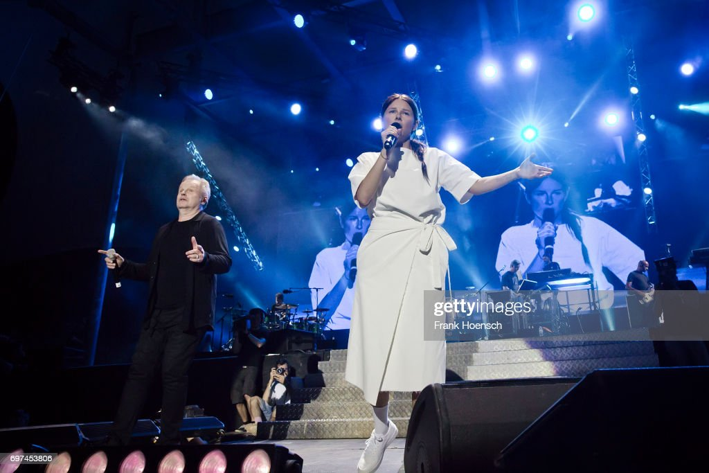 Singer Herbert Groenemeyer and Balbina perform live on stage during the Peace X Peace Festival at the Waldbuehne on June 18, 2017 in Berlin, Germany.