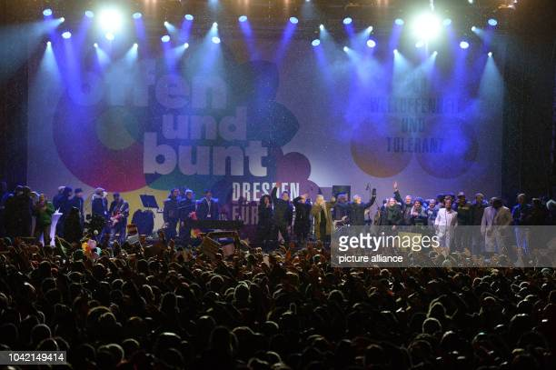 Singer Herbert Groenemeyer is on stage during a concert for cosmopolitanism and tolerance at the Neumarkt in DresdenGermany 26 January 2015 The city...