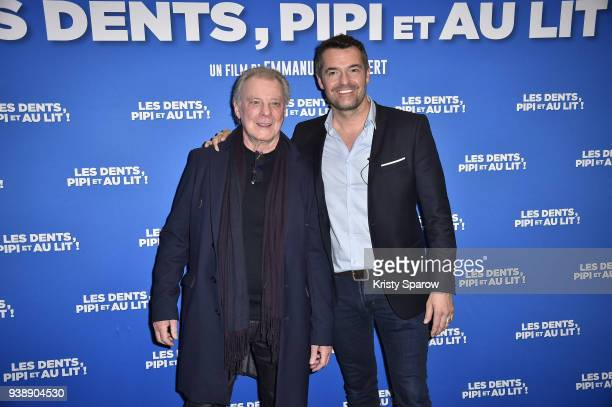 Singer Herbert Leonard and Actor Arnaud Ducret attend the 'Les Dents Pipi Et Au Lit' Paris Premiere at UGC Cine Cite des Halles on March 27 2018 in...