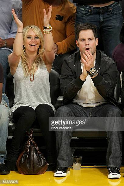 Singer Hilary Duff and New York Rangers player Mike Comrie attend Game Three of the 2008 NBA Finals between the Boston Celtics and the Los Angeles...
