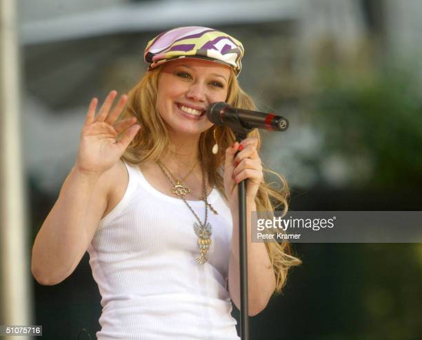 Singer Hilary Duff makes an appearance on Good Morning America Summer Concert Series July 16 2004 in New York City