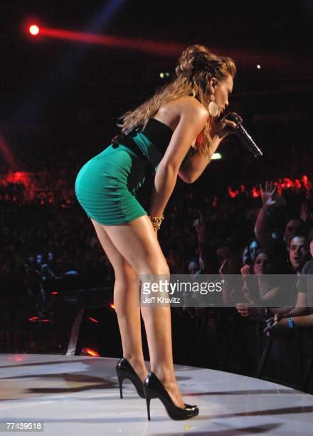 Singer Hilary Duff onstage at the Los Premios MTV Latin America 2007 at the Palacio de los Deportes on October 18 2007 in Mexico City Mexico