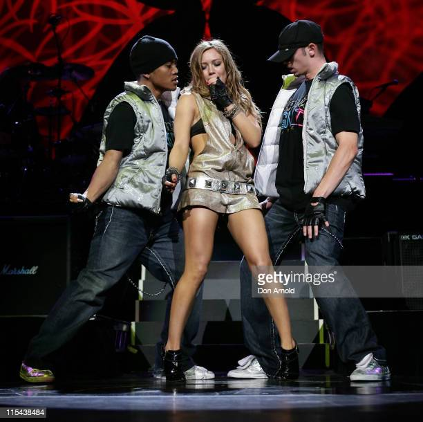 Singer Hilary Duff performs on stage at Acer Arena as part of her 2008 'Dignity' tour on February 2, 2008 in Sydney, Australia.