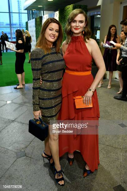Singer Hilary Roberts and actor Emily Deschanel attends the 2018 Farm Sanctuary on the Hudson gala at Pier 60 on October 4 2018 in New York City