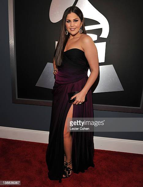 Singer Hillary Scott of Lady Antebellum arrives at The 54th Annual GRAMMY Awards at Staples Center on February 12, 2012 in Los Angeles, California.