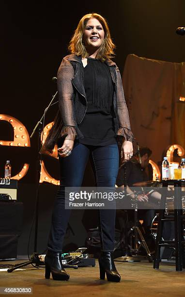 Singer Hillary Scott of Lady Antebellum performs at the premiere of Relativity Studios' 'The Best Of Me' after party featuring a live performance by...