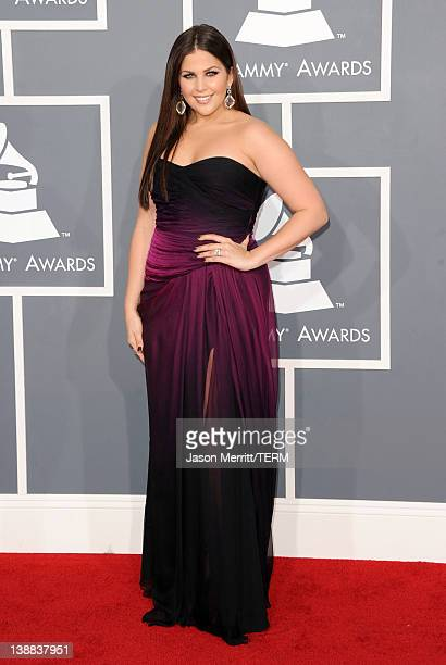 Singer Hillary Scott of the band Lady Antebellum arrives at the 54th Annual GRAMMY Awards held at Staples Center on February 12 2012 in Los Angeles...