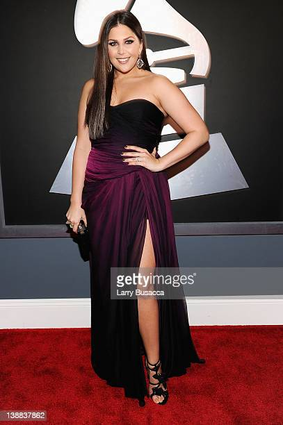 Singer Hillary Scott of the group Lady Antebellum arrives at the 54th Annual GRAMMY Awards held at Staples Center on February 12 2012 in Los Angeles...