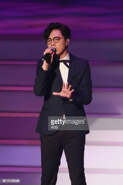 Singer Hins Cheung performs during the Concert of Ten Thousand Voices on June 26 2017 in Hong Kong China