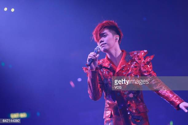Singer Hins Cheung performs during The Magical Teeter Totter concert at Hong Kong Coliseum on February 16 2017 in Hong Kong China