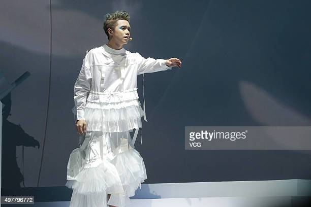 Singer Hins Cheung performs in the musical play Music Is Live on November 18 2015 in Hong Kong China