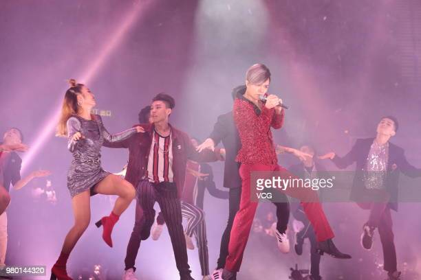 Singer Hins Cheung performs on the stage during his 'Hinsideout' live concert at Hong Kong Coliseum on June 19 2018 in Hong Kong China
